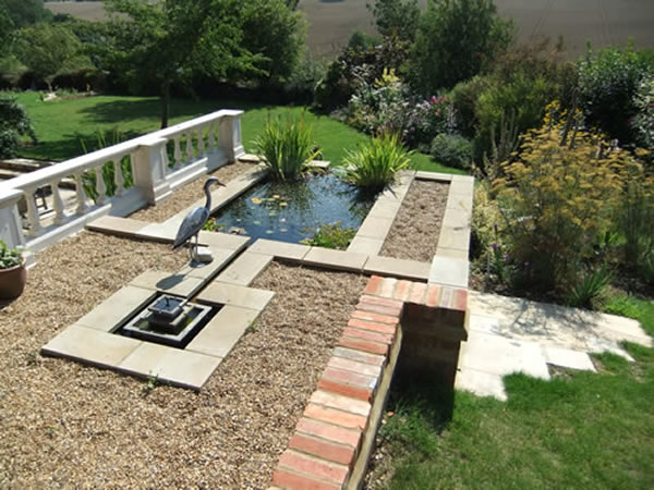 Garden Features Including Fountains Steps And Raised Beds